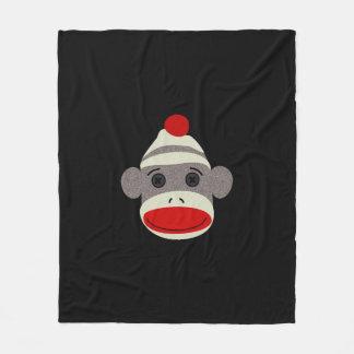Sock Monkey Face Fleece Blanket