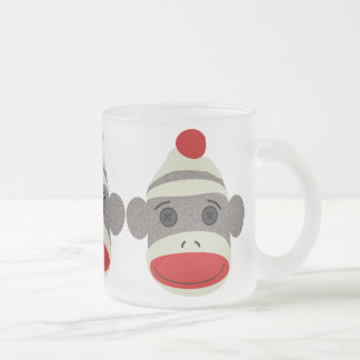 Sock Monkey Face Frosted Glass Coffee Mug