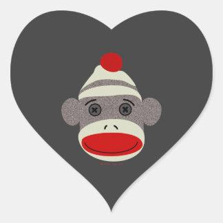 Sock Monkey Face Heart Sticker