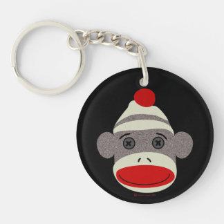Sock Monkey Face Keychain