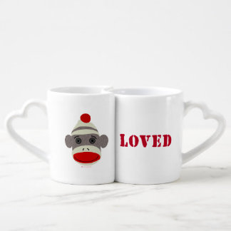 Sock Monkey Face Loved Mugs Couples' Coffee Mug Set