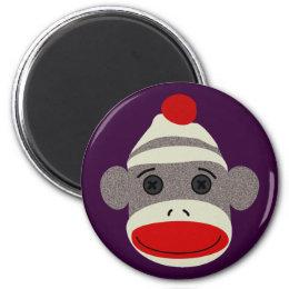Sock Monkey Face Magnet