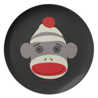 Sock Monkey Face Melamine Plate