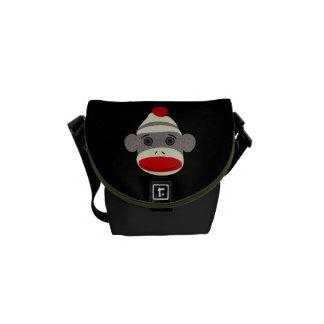 Sock Monkey Face Messenger Bag