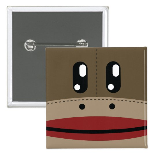 Sock Monkey Face Products Button