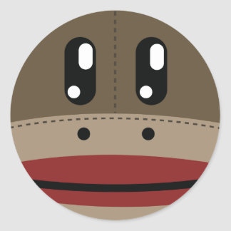 Sock Monkey Face Products Classic Round Sticker