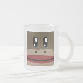 Sock Monkey Face Products Frosted Glass Coffee Mug