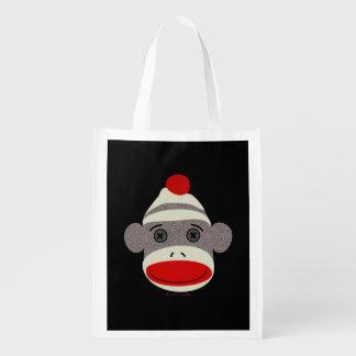 Sock Monkey Face Reusable Grocery Bag