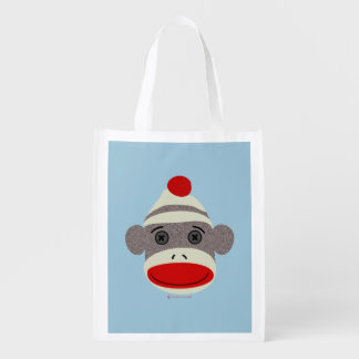 Sock Monkey Face Reusable Grocery Bags