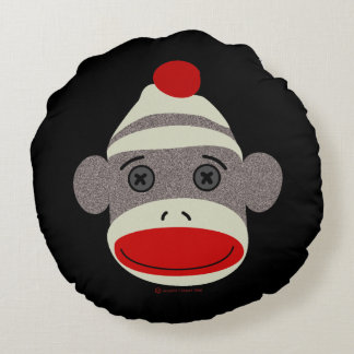 Sock Monkey Face Round Pillow