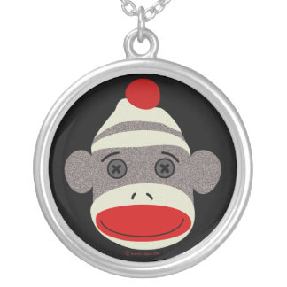 Sock Monkey Face Silver Plated Necklace