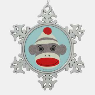 Sock Monkey Face Snowflake Ornament