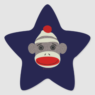 Sock Monkey Face Star Sticker