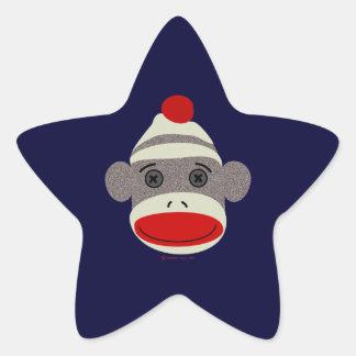 Sock Monkey Face Star Sticker
