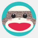 Sock Monkey Face Stickers