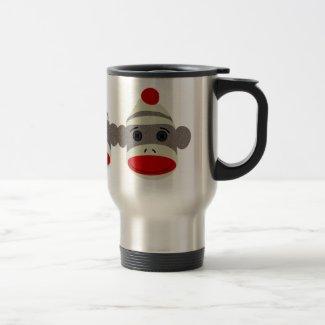 Sock Monkey Face Travel Mug