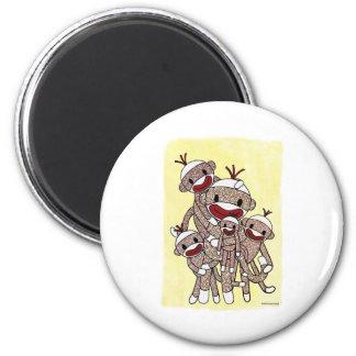Sock Monkey Family 04 2 Inch Round Magnet