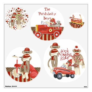Sock Monkey, Fire Truck Boy Baby Room Decor Name Wall Sticker