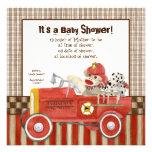 Sock Monkey, Fire Truck Boy Baby Shower Invitation
