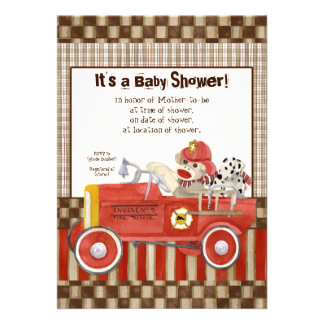 Sock Monkey Fire Truck Boy Baby Shower Invitation