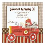 Sock Monkey, Fire Truck Boy Birthday Party Invite