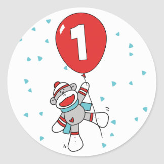 Sock Monkey First Birthday Classic Round Sticker