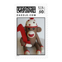 Sock Monkey First Birthday Commemorative Stamp