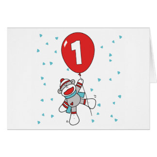 Sock Monkey First Birthday Invitations Greeting Cards