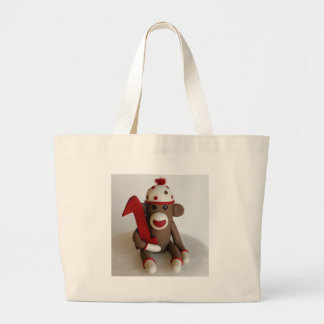 Sock Monkey First Birthday Large Tote Bag