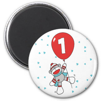 Sock Monkey First Birthday Magnet