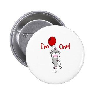 Sock Monkey First Birthday Pinback Button