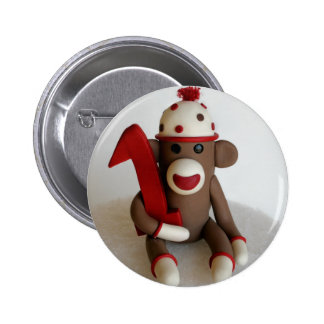 Sock Monkey First Birthday Pinback Button