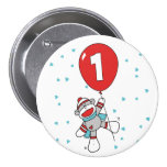 Sock Monkey First Birthday Pinback Buttons