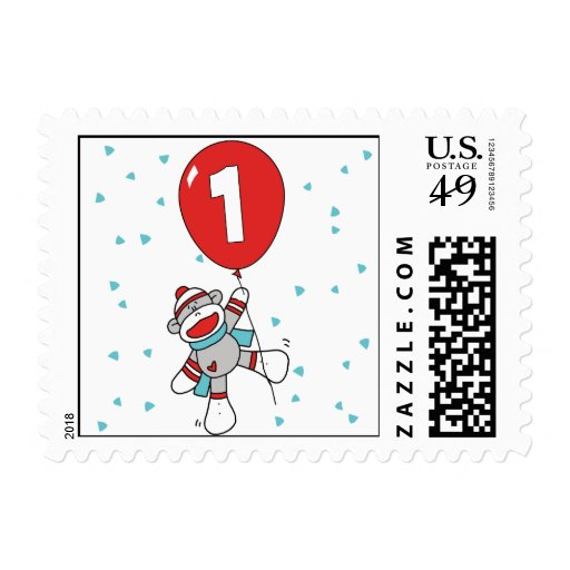Sock Monkey First Birthday Postage Postage Stamps