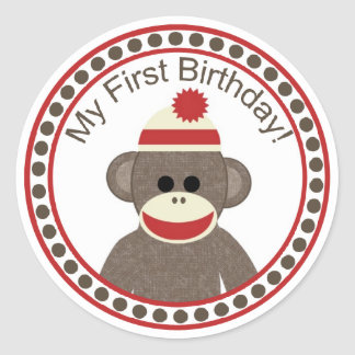 Sock Monkey First Birthday sticker
