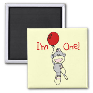 Sock Monkey First Birthday Tshirts and Gifts 2 Inch Square Magnet