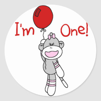 Sock Monkey First Birthday Tshirts and Gifts Classic Round Sticker