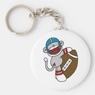 Sock Monkey Football Basic Round Button Keychain