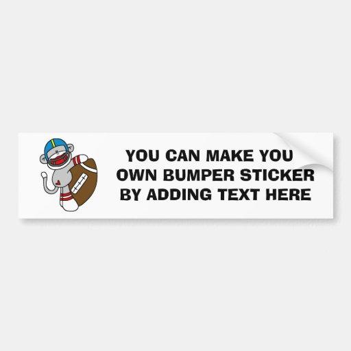 Sock Monkey Football T shirts and Gifts Car Bumper Sticker