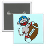Sock Monkey Football T-shirts and Gifts Button