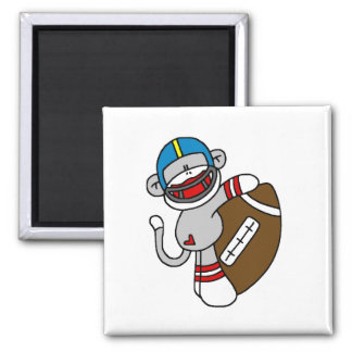 Sock Monkey Football T-shirts and Gifts 2 Inch Square Magnet