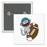Sock Monkey Football T shirts and Gifts Pinback Button