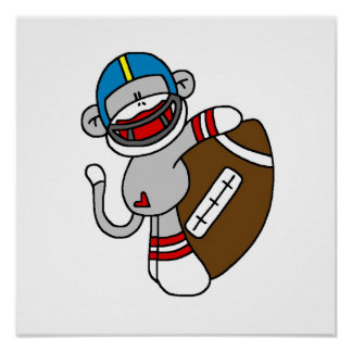 Sock Monkey Football T shirts and Gifts Poster