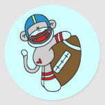 Sock Monkey Football T-shirts and Gifts Round Stickers