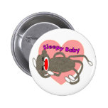 """Sock Monkey for Kids """"Sleepy Baby""""---Adorable 2 Inch Round Button"""