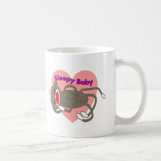"""Sock Monkey for Kids """"Sleepy Baby""""---Adorable Coffee Mug"""
