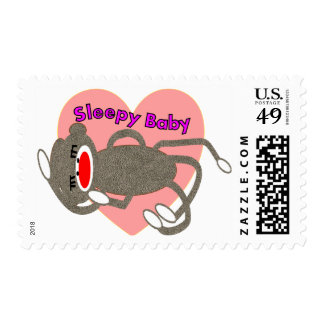 """Sock Monkey for Kids """"Sleepy Baby""""---Adorable Postage"""