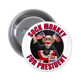 Sock Monkey for President Button