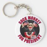 Sock Monkey for President Keychain