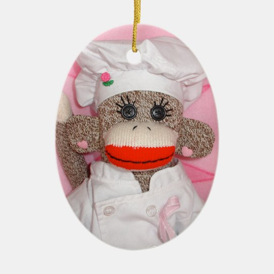 Sock Monkey for the Cure Oval Ornament (Chef)